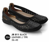 Flat shoes Hitam Kulit Everflow JR 011