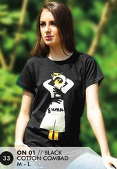 Kaos T Shirt Cotton Combad Wanita Hitam Everflow ON 01
