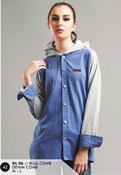 Sweater Denim Wanita Biru Everflow DL 06