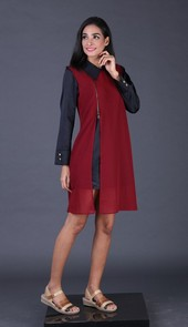 Dress Maroon Garsel Fashion AKK 4559