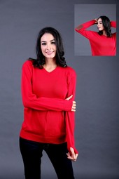Sweater Wanita Merah Garsel Fashion FTN 005